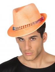 Borsalino-Hut mit Nieten orange