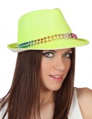 Borsalino-Hut mit Nieten gelb
