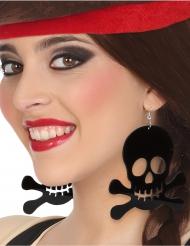 Riesige Totenkopf-Ohrringe für Erwachsene schwarz