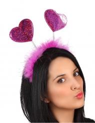 Haarreif mit Herzen JGA-Zubehör für Erwachsene rosa