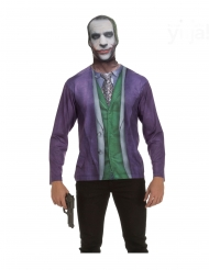 Verrücktes Clown-Shirt für Herren Kostümzubehör grün-lila