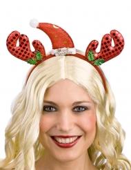 Haarreif mit Weihnachtsmütze und Rentier Hörner
