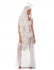 Engel-Set Lockenperücke mit Haarreif weiß