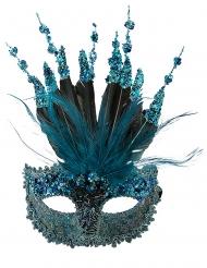 Venezianische Maske mit Verzierung und Federn blau für Damen