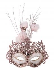 Venezianische Maske mit Verzierung und Federn rosa für Damen
