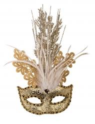 Venezianische Maske mit Verzierung und Federn gold für Damen
