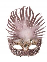 Venezianische Maske mit Verzierung glitter-violett