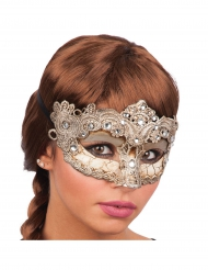 Venezianische Maske mit Verzierung gold für Damen