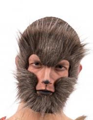 Werwolf Maske mit Fell für Erwachsene braun