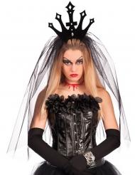 Schwarze Krone mit Schleier für Damen