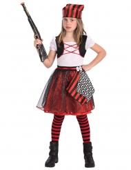Piratenkostüm für Mädchen schwarz-rot-weiss