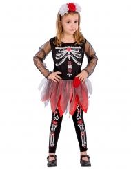 Skelett-Kutten-Kostüm für Mädchen schwarz-weiss