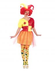 Clown-Kostüm mit Karten Damen