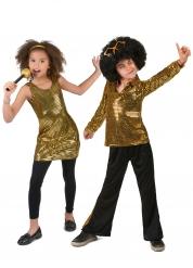 70er-Jahre Paarkostüm für Kinder schwarz-gold