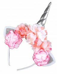 Einhorn Haarreif mit Blumen silber, rosa