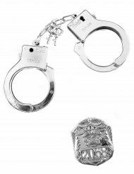 Polizei-Set mit Handschellen und Abzeichen für Erwachsene und Kinder