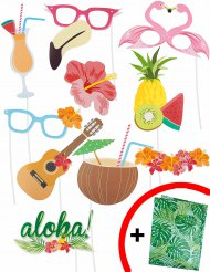 Photobooth Accessoire-Set Hawaii 10 Stück bunt