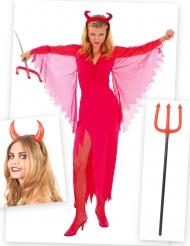 Teufelin Kostümset für Damen mit Kostüm, Hörnern und Dreizack