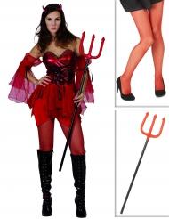 Teufel-Kostümset für Damen mit Kostüm, Strumpfhose und Dreizack