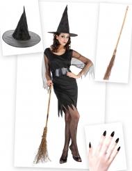 Hexen Kostümset für Damen mit Kleid, Hut und Besen