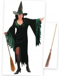 Kostümset Hexe für Damen mit Kleid, Hut und Besen