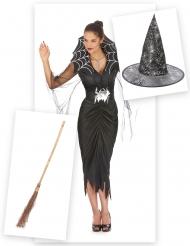 Hexen Kostümset für Damen mit Kostüm, Hut und Besen