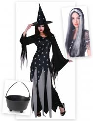 Hexe Kostüm-Set mit Hexenkessel und Perücke schwarz-grau