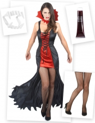 Vampirin Kostüm-Set 4-teilig schwarz-rot