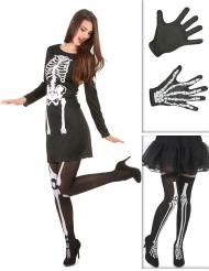 Skelett Kostüm-Set für Damen schwarz-weiß
