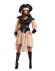 Piratenkostüm für Damen schwarz-beigefarben