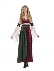 Mittelalterliche Prinzessin Damenkostüm rot-braun-grün