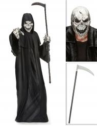 Sensenmann Kostüm-Set Sense und Maske schwarz-weiß