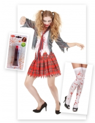 High School Zombie-Schülerin Kostüm-Set bunt