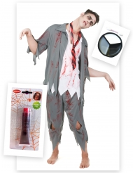 Zombie Kostüm-Set für Herren Kunstblut und Make-Up bunt