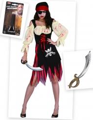 Zombiepiratin Kostüm-Set mit Schwert und Kunstblut bunt