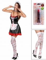Zombie Zimmermädchen Kostüm-Set schwarz-weiß-rot