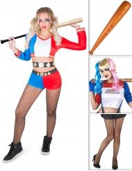Kostümset Harlekin mit Kostüm, Perücke, Strumpfhose und Schläger