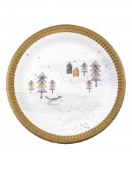 Pappteller für Weihnachten 8 Stück goldfarben-grau-weiss 23cm