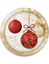 Pappteller mit Weihnachtskugeln 8 Stück 23cm