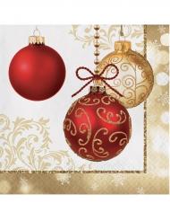 16 Papierservietten mit roten und goldfarbenen Weihnachtskugeln
