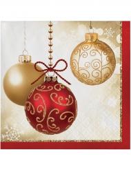 Kleine Papierservietten rote Weihnachtskugeln 16 Stück
