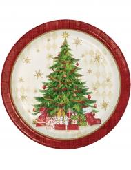 Pappteller Weihnachtsbaum rot 8 Stück 22cm
