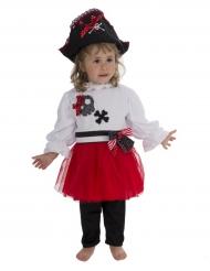 Kleine Piratin-Kinderkostüm schwarz-rot-weiss