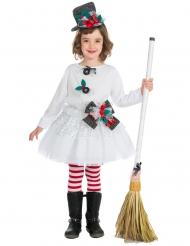 Weihnachtliches Mädchenkostüm Schneemann weiss-bunt