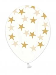 Transparente Latexballons goldene Sterne 6 Stück