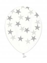 Transparente Latexballons silberne Sterne 6 Stück