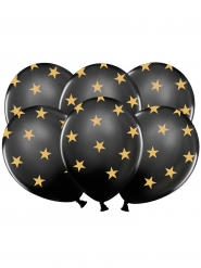 6 schwarze Latex Luftballons goldene Sterne