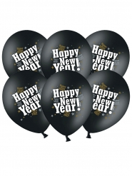 Latexballons Happy New Year schwarz 6 Stück