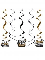 Deko-Spiralen Happy New Year schwarz-gold