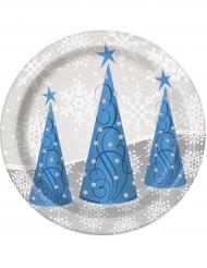 Kleine Pappteller Rentiermotiv für Weihnachten 8 Stück 18cm
